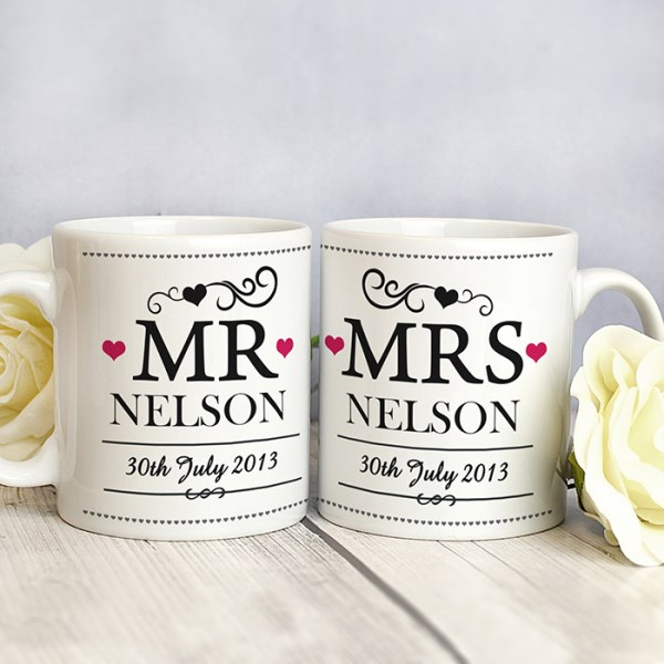 Mr & Mrs Mug Set - Decorative Design