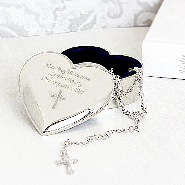 Rosary Beads and Cross Heart Trinket Box
