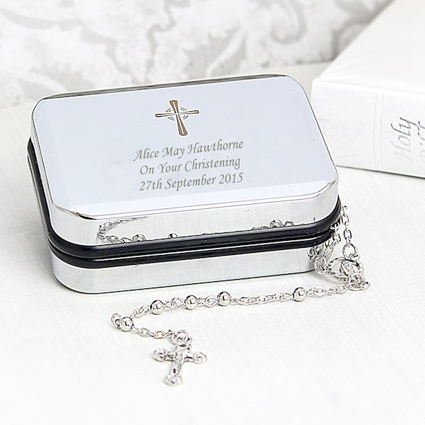 Rosary Beads and Cross Trinket Box